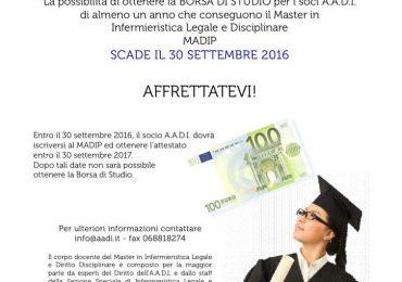 Borsa di studio per i soci A.A.D.I.  che conseguono il Master in  Infermieristica Legale e Disciplinare MADIP