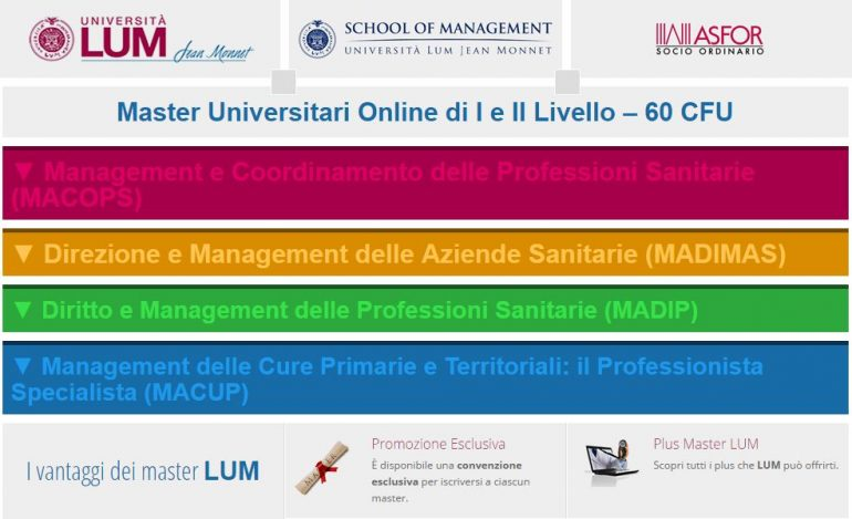Master di II livello in Direzione e Management delle Aziende Sanitarie (MADIMAS)