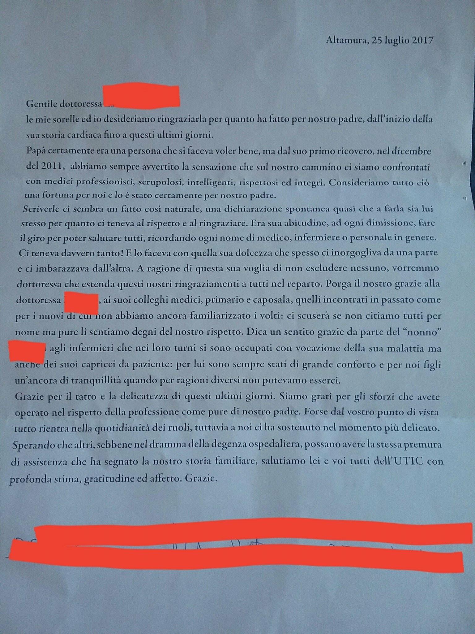 """Souvent Lettera di ringraziamento agli Infermieri: """"Sono sempre stati di  TF24"""