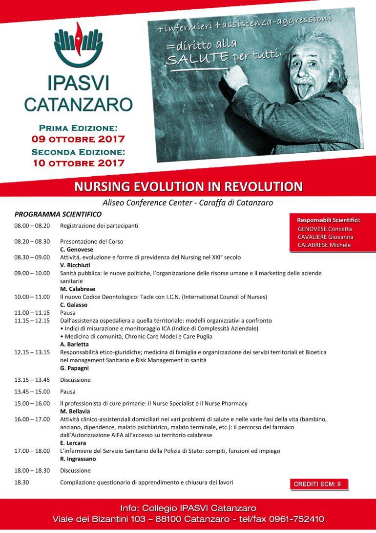EVENTO FORMATIVO E.C.M. IPASVI CATANZARO Nursing Evolution in Revolution (L'infermieristica evoluzione in rivoluzione)