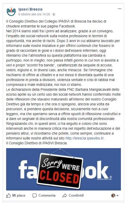 Insulti tra infermieri, IPASVI Brescia chiude le pagine social