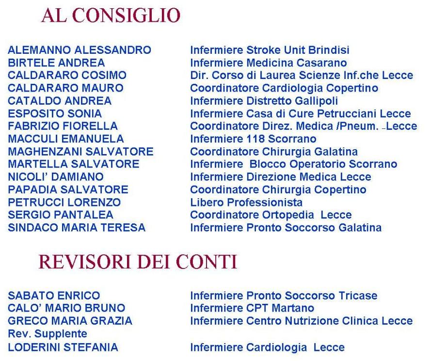 """IPASVI Lecce al voto, le sfide e le proposte della lista """"Collegio in .....Ordine"""""""