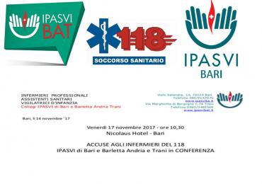 Conferenza 118 in Puglia: IPASVI BAT e Bari incontrano gli Infermieri