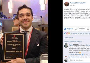 Gianluca Pucciarelli, infermiere romano, ha ricevuto un importante riconoscimento negli USA