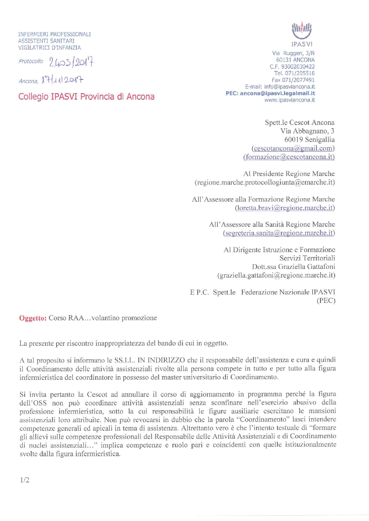Nelle Marche gli Oss non coordineranno gli Infermieri: Ipasvi Ancona blocca il corso RAA 2
