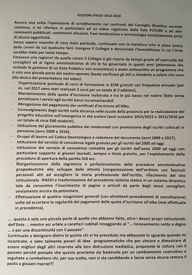 Rinnovo all'Ipasvi Brindisi, lettera aperta della Presidente uscente 1