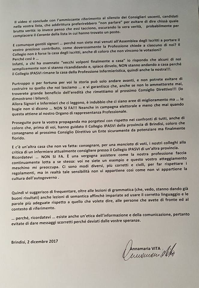 Rinnovo all'Ipasvi Brindisi, lettera aperta della Presidente uscente