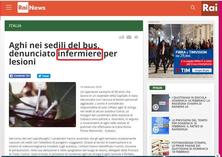 Aghi nei sedili: l'untore romano è operatore socio sanitario ma per Rai-news è infermiere