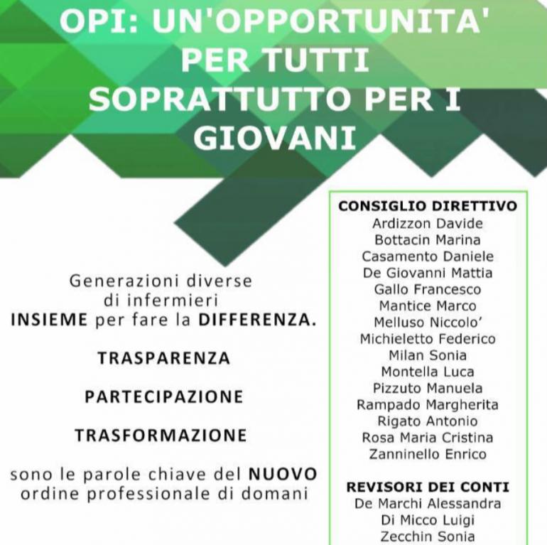 """L'Opi di Venezia si rinnova con la lista di giovani infermieri """"Lista 3"""""""