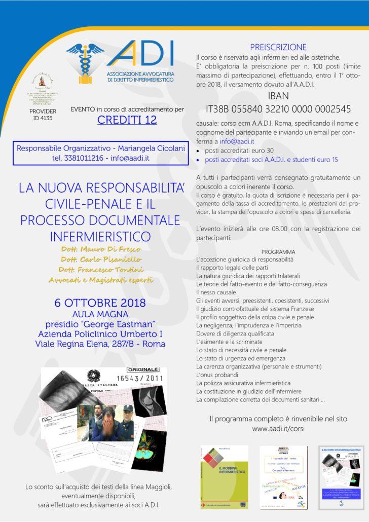 Aadi: evento Ecm sulla responsabilità professionale infermieristica e ostetrica