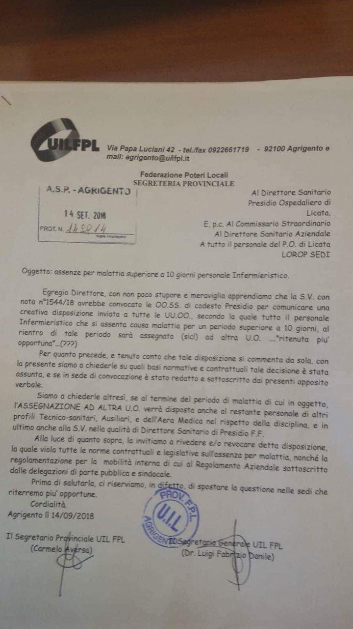 Asp Agrigento: gli infermieri che si ammalano per più di 10 giorni saranno trasferiti di reparto 1