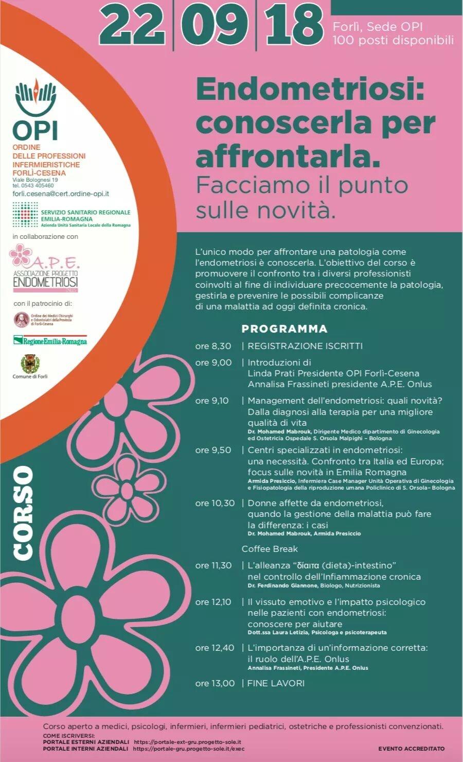 """Opi Forlì-Cesena """"Endometriosi: conoscerla per affrontarla. Facciamo il punto delle novità"""""""