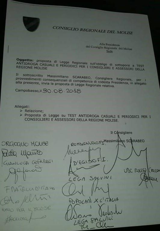 Test antidroga per tutti i politici: la proposta del consigliere del Molise Massimiliano Scarabeo 1