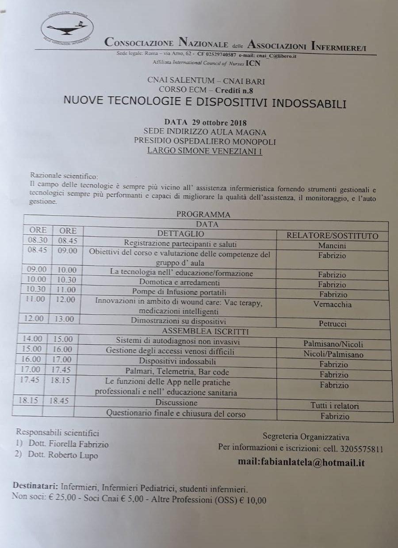 Evento ECM C.N.A.I. Bari e Salentum: Nuove tecnologie e dispositivi indossabili
