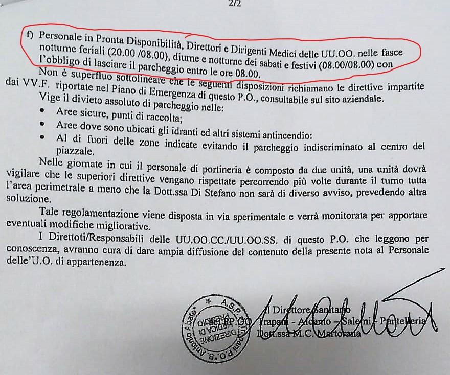 P.O. S. Antonio Abate di Trapani: parcheggio consentito ai soli medici 1