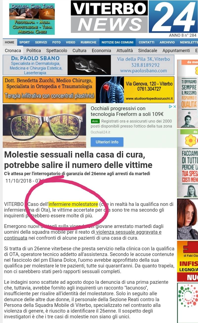 """Sbattuto sui giornali come """"Infermiere molestatore"""", in realtà è un OTA 4"""