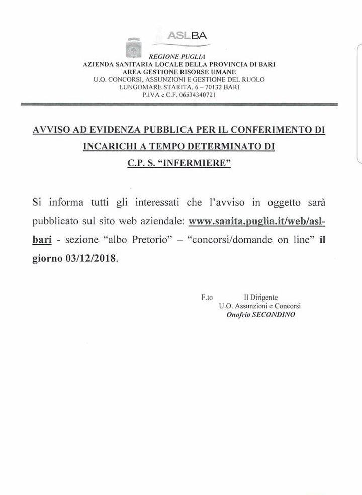 Asl Bari: avviso pubblico per infermieri on line dal 3/12/2018