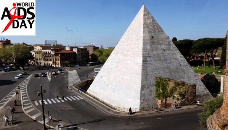 Giornata mondiale della lotta all'Aids, la Piramide Cestia si illuminerà di rosso