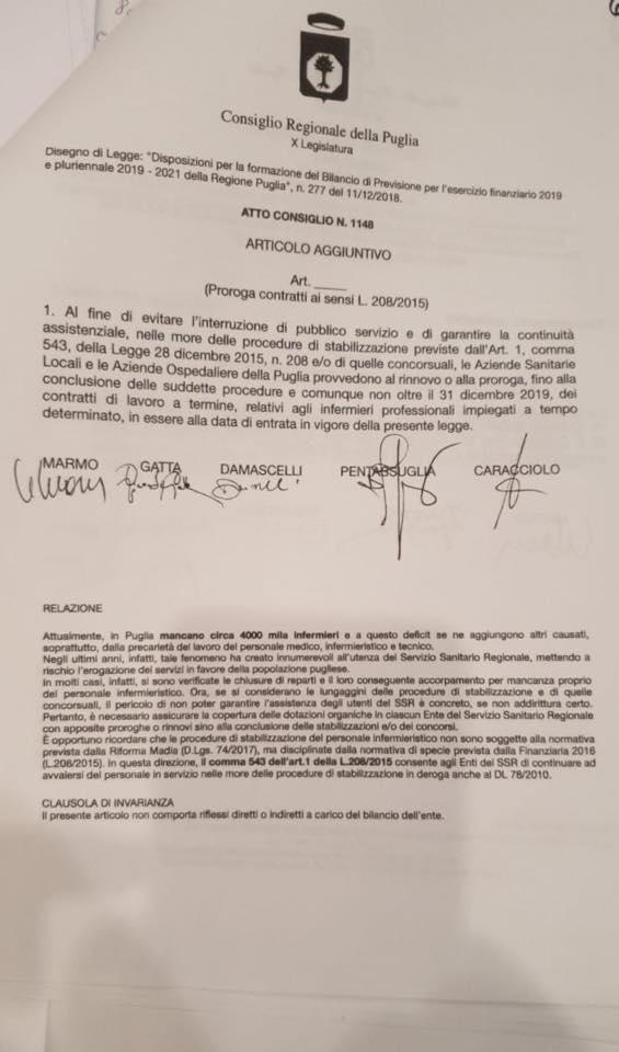 Il valzer dei contratti a tempo determinato degli infermieri pugliesi: presentato emendamento
