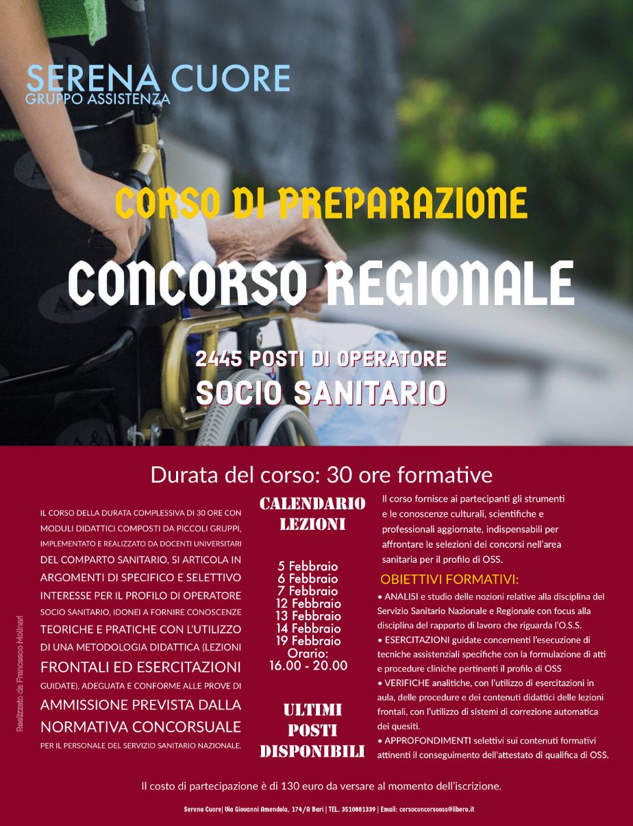 Corso di preparazione al concorsone regionale per 2445 posti di Oss a Bari