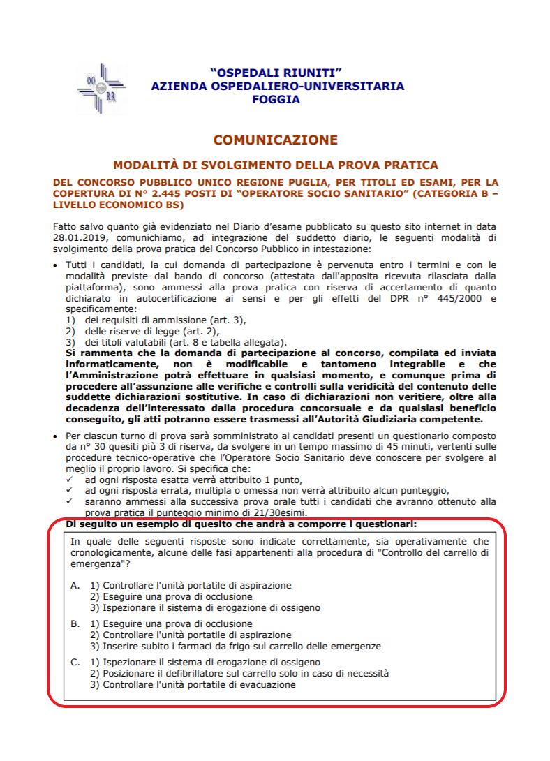 """AOU """"Riuniti"""" di Foggia: concorso pubblico per 2445 Oss o Infermieri?"""