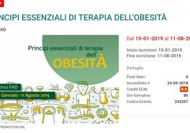 """Corso Ecm Fad gratuito """"Principi essenziali di terapia dell'obesità"""" (8 crediti)"""