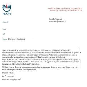 """FNOPI:""""Siamo riusciti a far correggere la data di nascita della Nightingale alla Treccani"""" 1"""