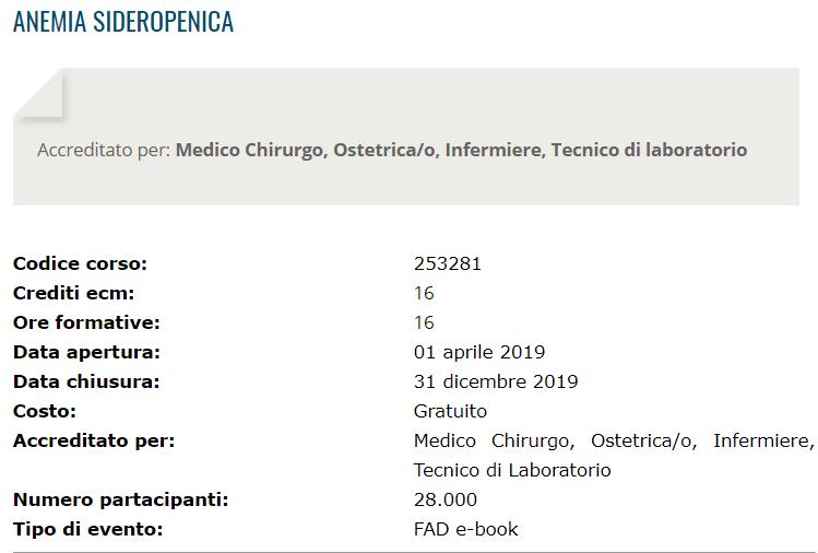 """Corso Fad Ecm gratuito """"Anemia sideropenica"""" per"""
