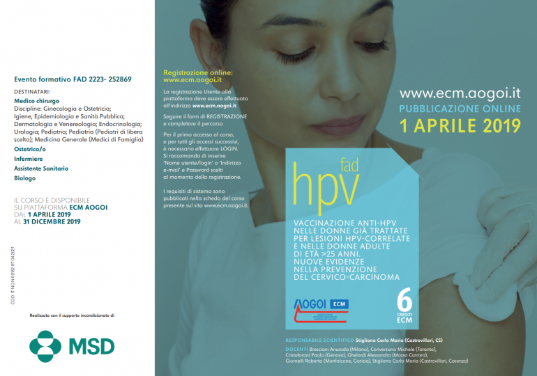 """Corso Fad Ecm Gratuito """"Vaccinazione anti-Hpv nelle donne"""" (crediti ECM 6)"""