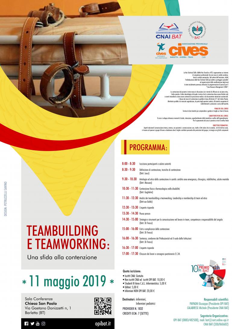 """Evento ECM """"TEAMBUILDING E TEAMWORKING: una sfida alla contenzione"""