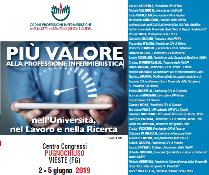 Evento ECM OPI Bari, BAT, Caserta e Brindisi: PIÙ VALORE alla professione infermieristica nell'Università, nel lavoro e nella Ricerca