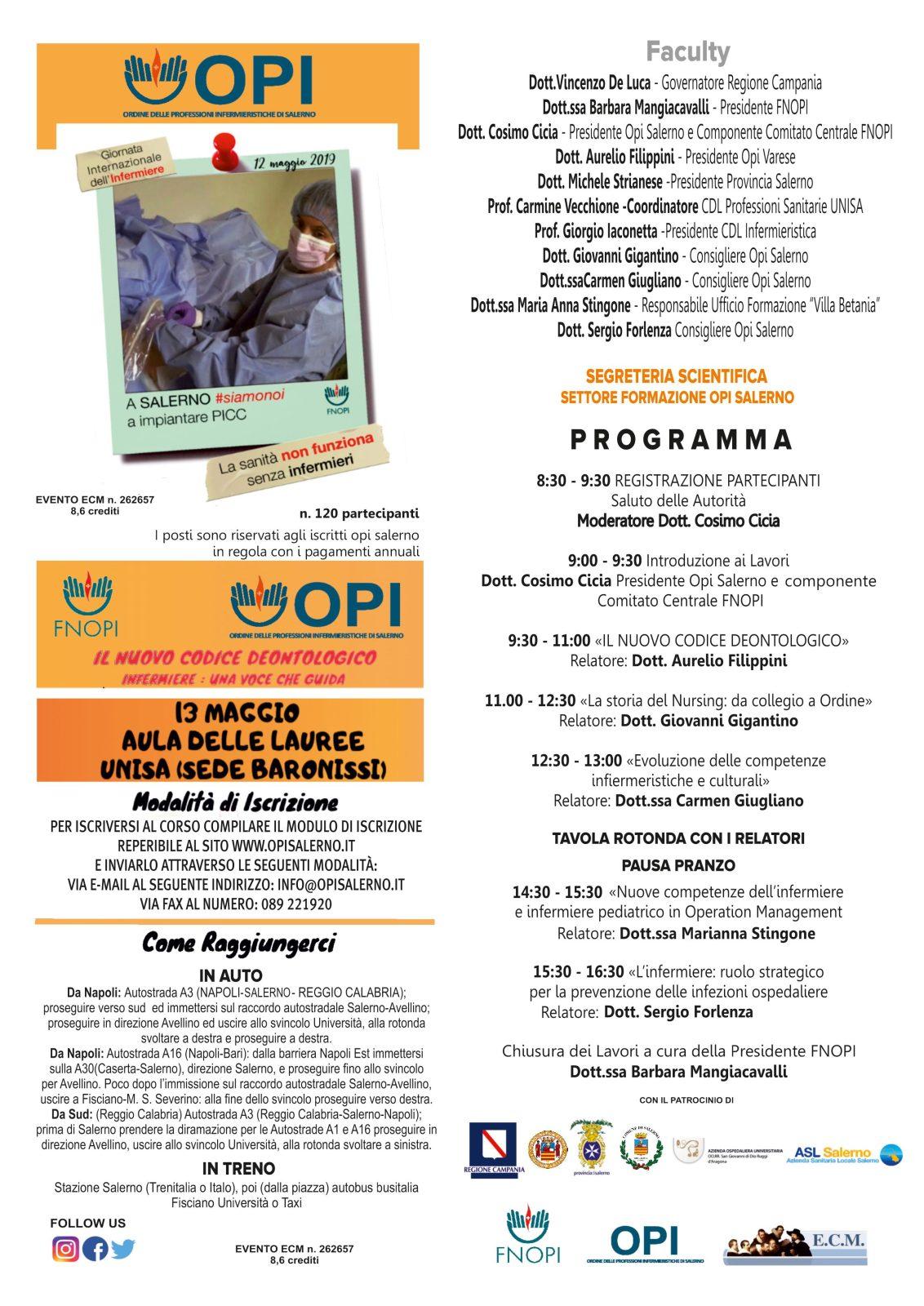 """Opi Salerno celebra la """"Giornata Internazionale dell'Infermiere"""" con un evento formativo 1"""