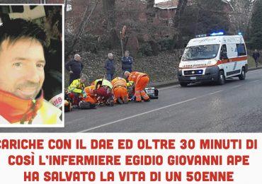 17 scariche con il DAE ed oltre 30 minuti di RCP: così l'infermiere Egidio Giovanni Ape ha salvato la vita di un 50enne