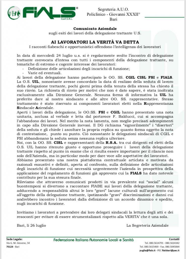 Al Policlinico di Bari, la regolamentazione sugli incarichi di funzione divide i sindacati