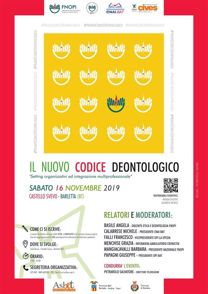 Evento ECM OPI BAT: Il Nuovo Codice Deontologico: setting organizzativi ed integrazione multiprofessionale