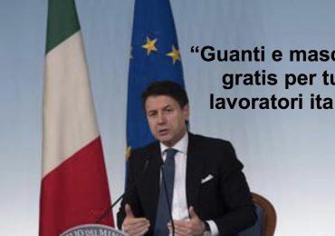 """Coronavirus, Giuseppe Conte: """"Guanti e mascherine gratis per tutti i lavoratori"""""""
