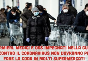 Coronavirus: niente più code chilometriche al supermercato per infermieri, medici e oss. Priorità per i professionisti della salute