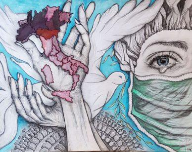 """Coronavirus: un disegno per dare forza e augurare buona Pasqua ai """"bianchi guerreri""""."""