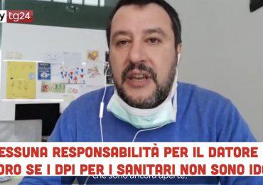 Nessuna responsabilità del datore di lavoro se i sanitari lavorano senza DPI: al Senato la proposta di Salvini