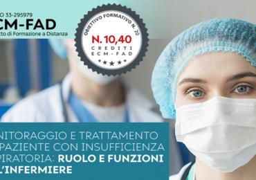 """Fad Ecm gratuito """"Monitoraggio e trattamento del paziente con insufficienza respiratoria: ruolo e funzioni dell'infermiere"""""""