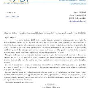 """Denominazione """"Infermeire"""" utilizzata nel manifesto di film pornografici: Adi diffida la società Digisat 2"""