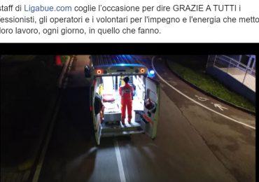 Luciano Ligabue rigrazia per il video racconto del servizio 118 dell'Azienda USL di Ferrara sulle note della sua canzone