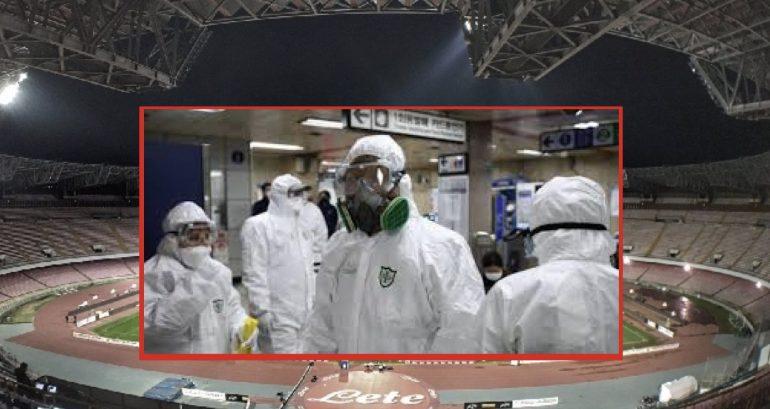 Omaggio agli infermieri che combattono il Covid-19 prima della semifinale di Coppa Italia tra Napoli e Inter 1