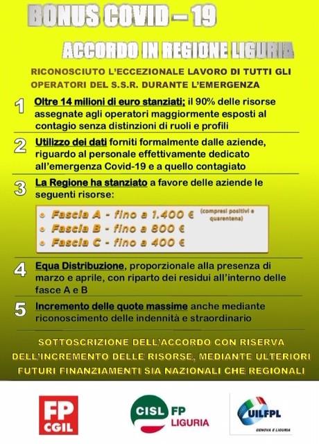Bonus Covid-19: accordo in regione Liguria