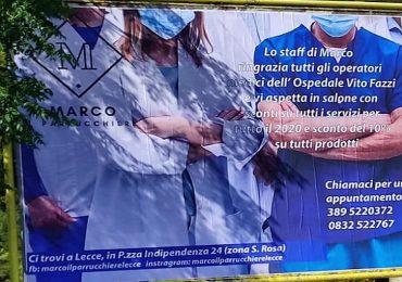 Lecce, l'iniziativa del parrucchiere per ringraziare medici e infermieri
