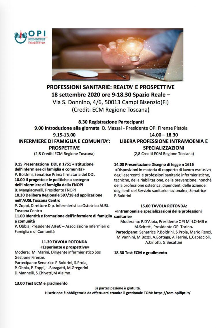 Futuro professioni sanitarie: domani a Campi Bisenzio convegno Opi Fi-Pt con la senatrice Paola Boldrini