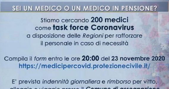 Coronavirus, la Protezione civile cerca 200 medici