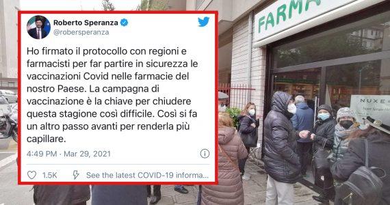 Covid-19: remunerazione minima di € 6,00 ad inoculazione per i farmacisti vaccinatori