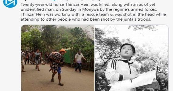 Myanmar, uccisa giovane infermiera che soccorreva i feriti