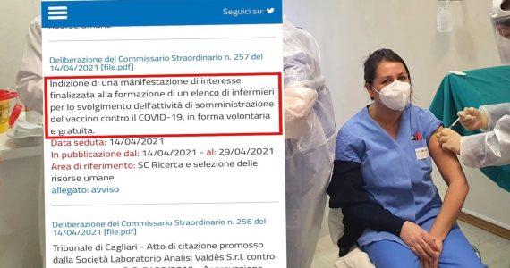Vaccinazioni Covid-19: ATS Sardegna ricerca infermieri disposti a lavorare gratuitamente